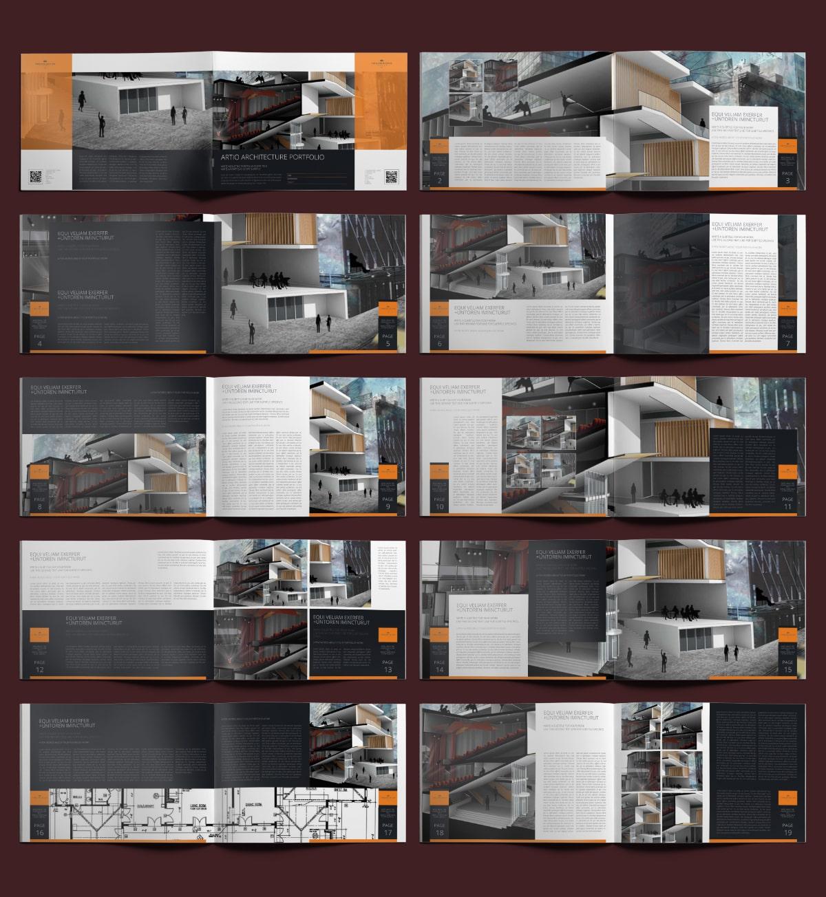 Artio Architecture Portfolio A4 Landscape - Layouts