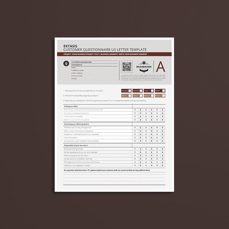 Ektasis Customer Questionnaire US Letter Template