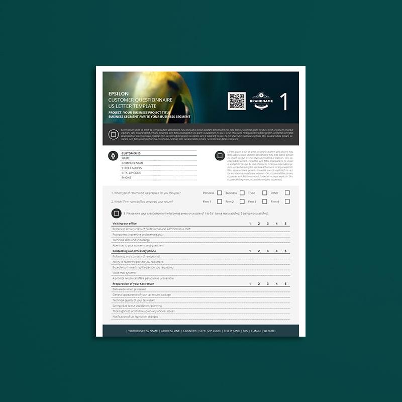 Epsilon Customer Questionnaire US Letter Template