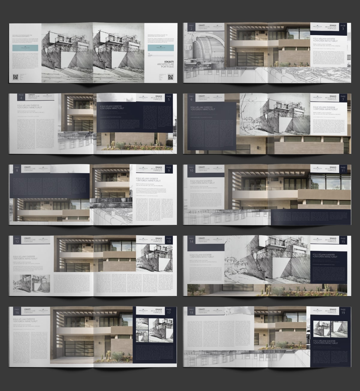 Iokasti Architecture Portfolio A4 Landscape - Layouts