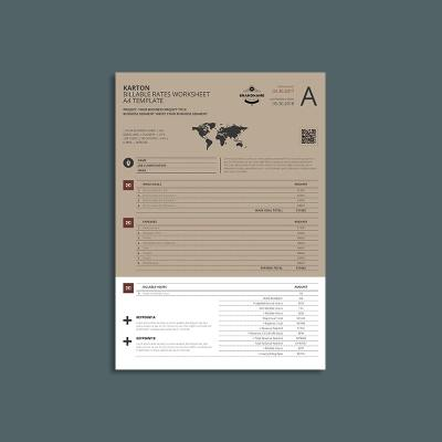 Karton Billable Rates Worksheet A4 Template