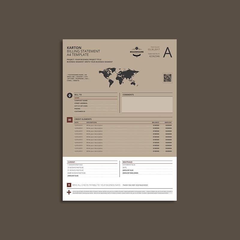 Karton Billing Statement A4 Template