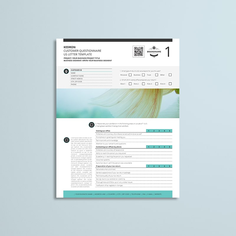 Kedron Customer Questionnaire US Letter Template