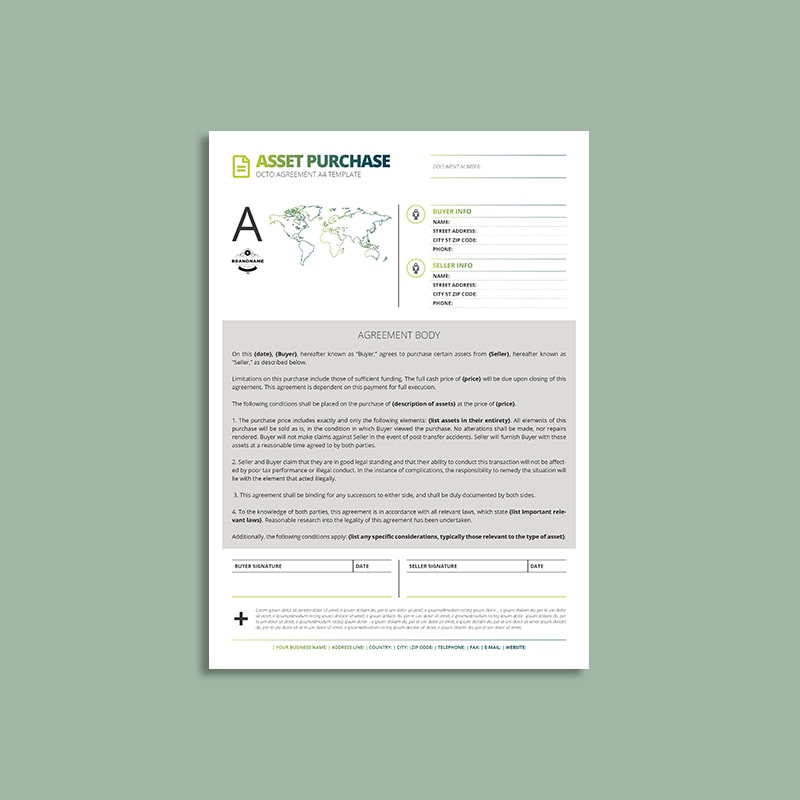 Octo Asset Purchase Agreement A4 Template