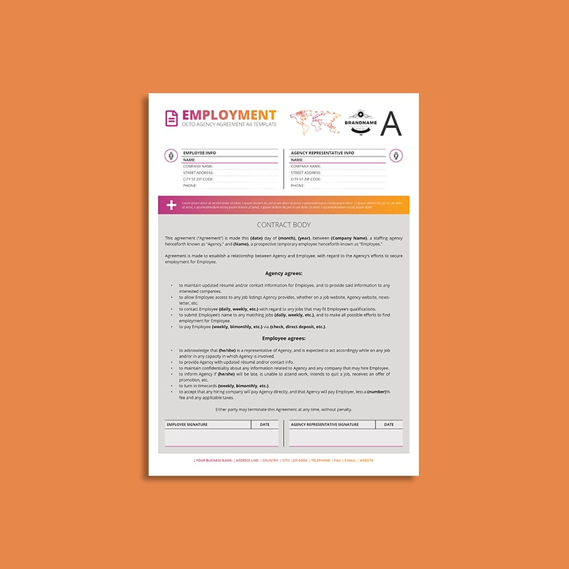 Octo Employment Agency Agreement A4 Template