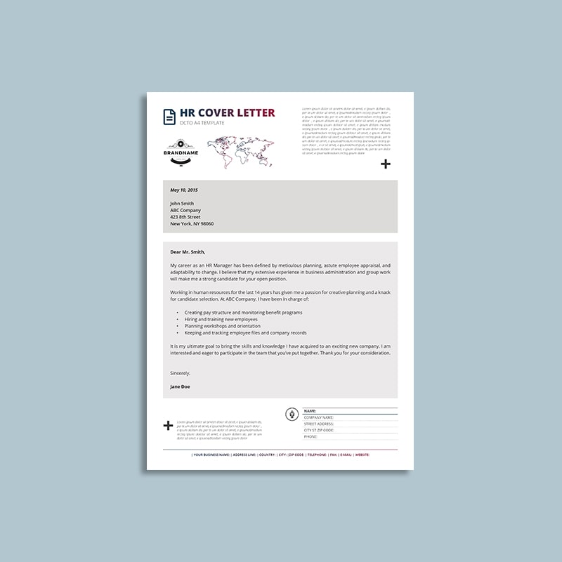 Octo HR Cover Letter A4 Template | keboto org