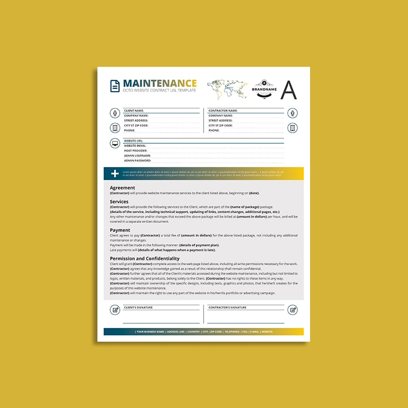 Octo Website Maintenance Contract US Letter Template