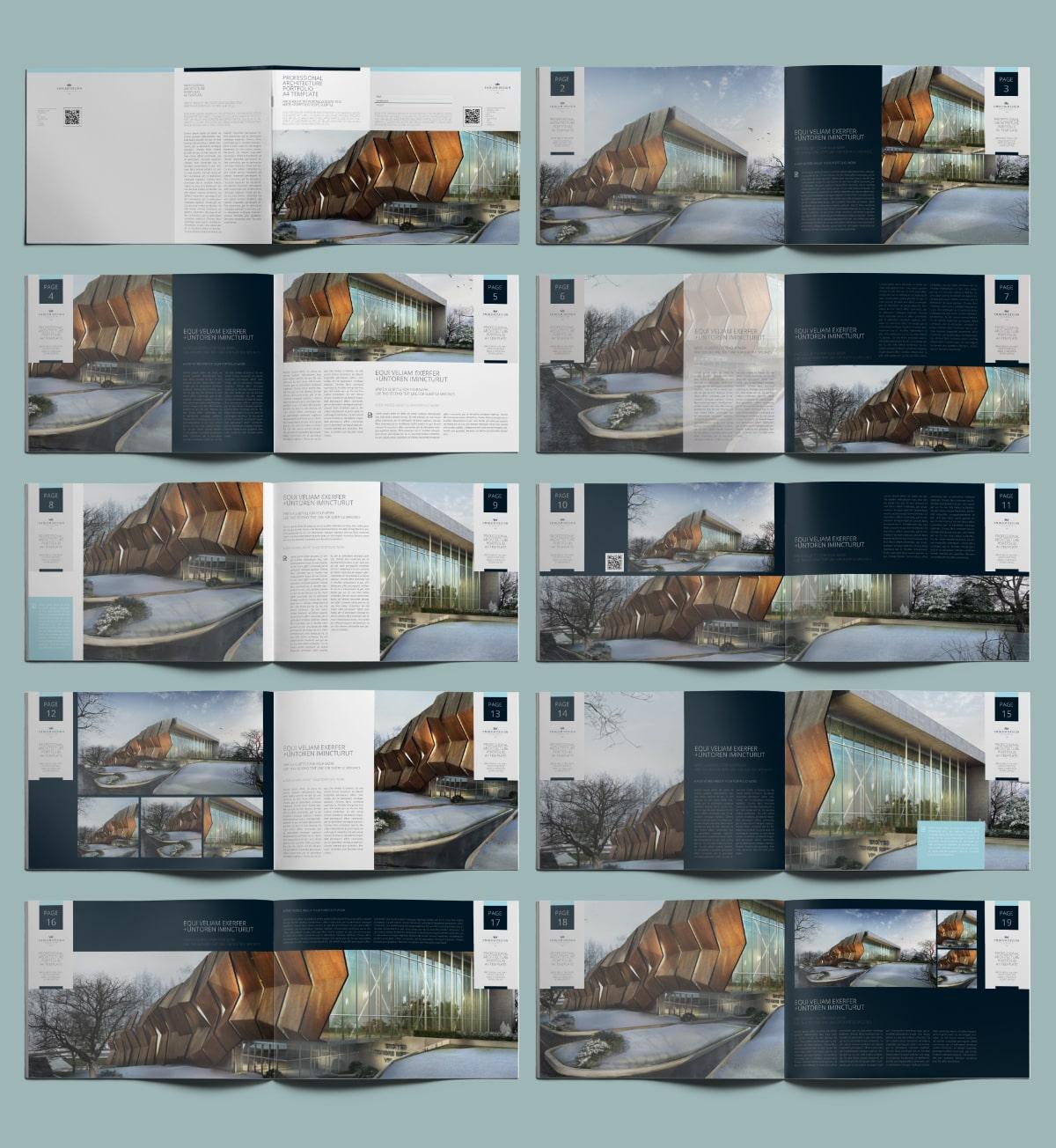 Professional Architecture Portfolio A4 Template - Layouts