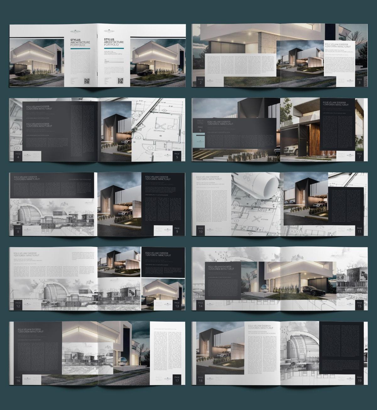 Stylus Architecture Portfolio A4 Landscape - Layouts