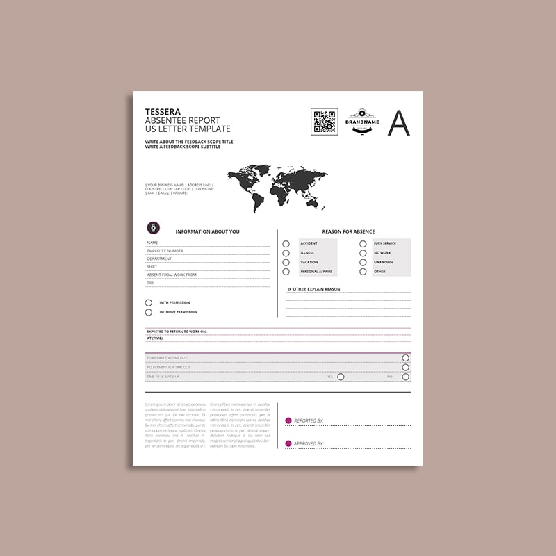 tessera absentee report us letter template