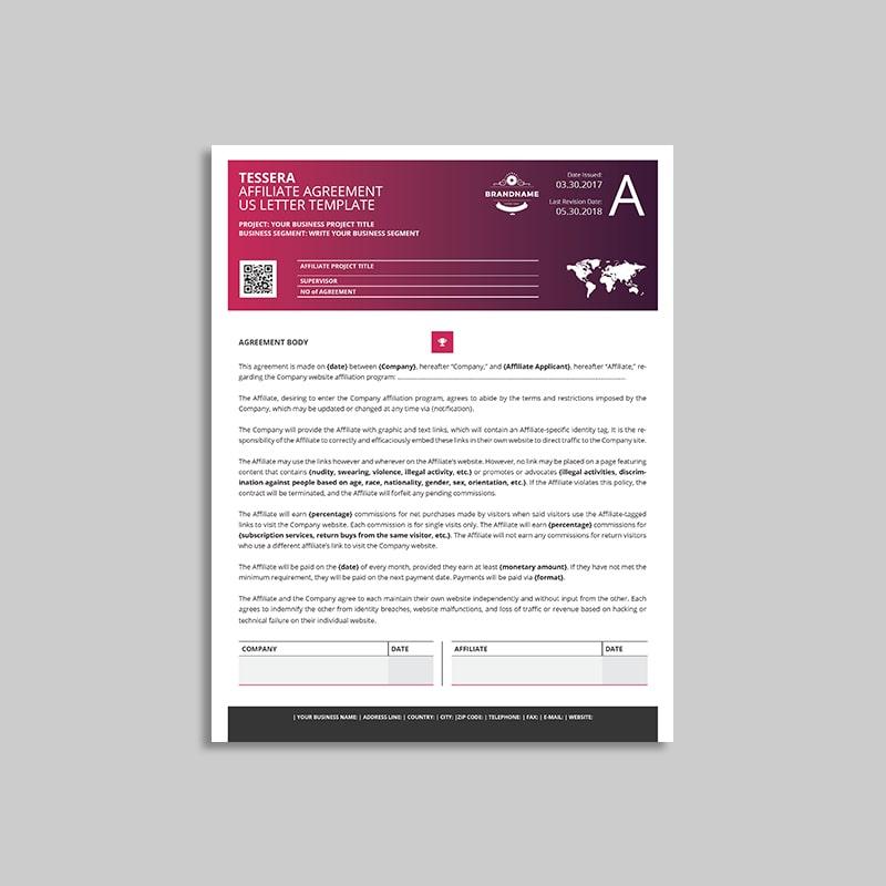 Tessera Affiliate Agreement US Letter Template