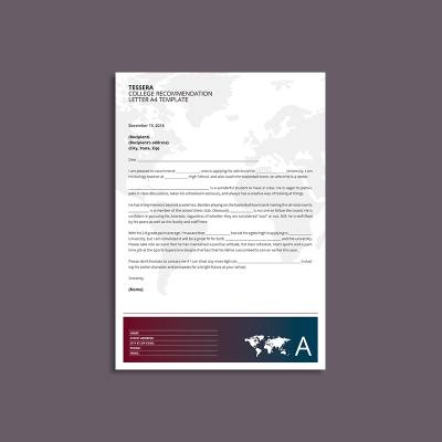 Tessera College Recommendation Letter A4 Template