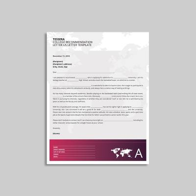 Tessera College Recommendation Letter US Letter Template