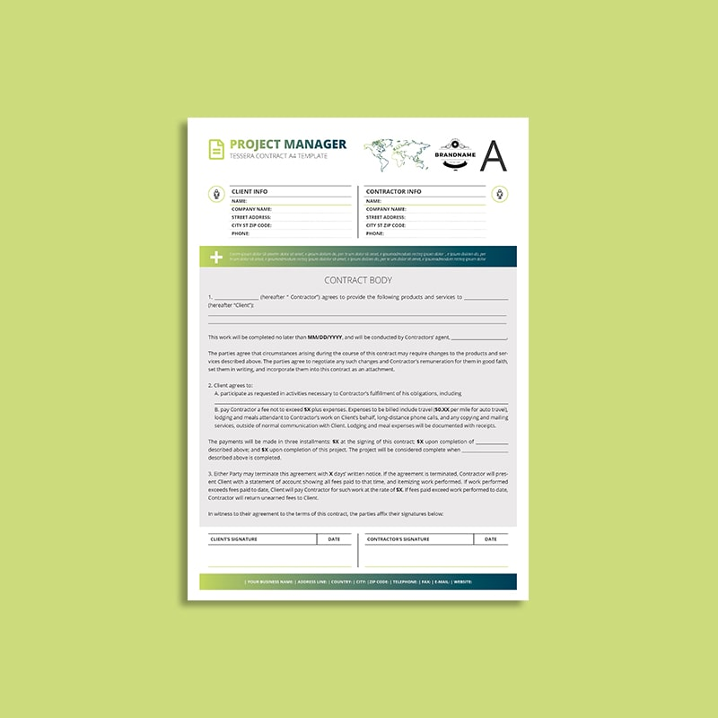 Tessera Project Manager Contract A4 Template