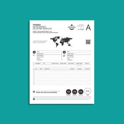 Tessera Sales Invoice US Letter Template