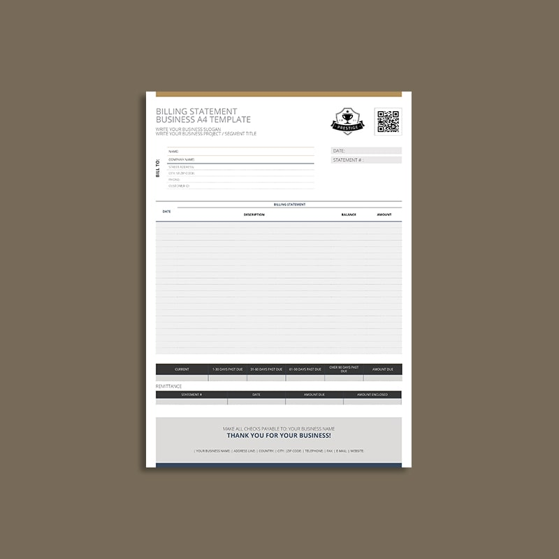 Billing Statement Business A4 Template