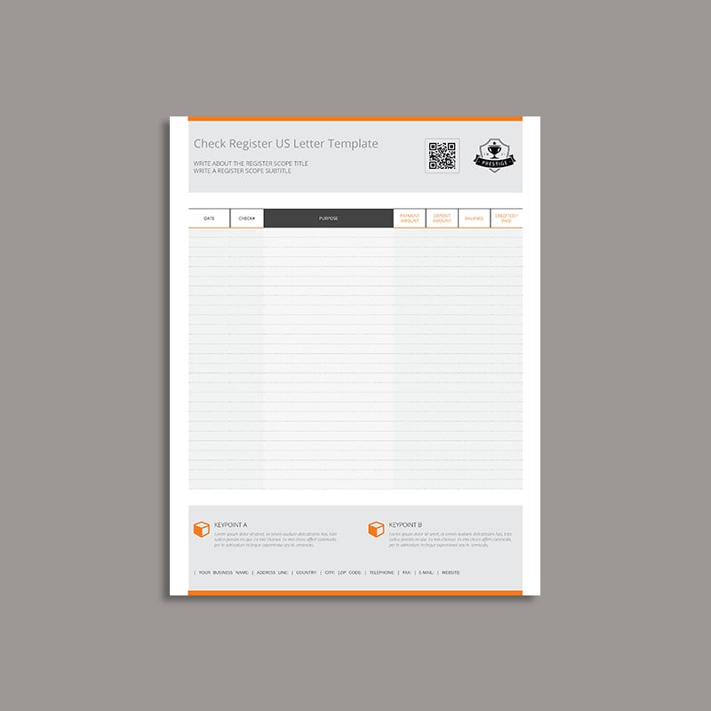 Check Register US Letter Template