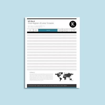 MS Word Check Register US Letter Template