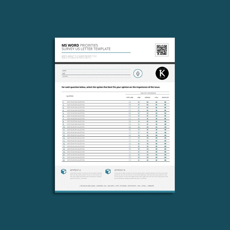 MS Word Priorities Survey US Letter Template