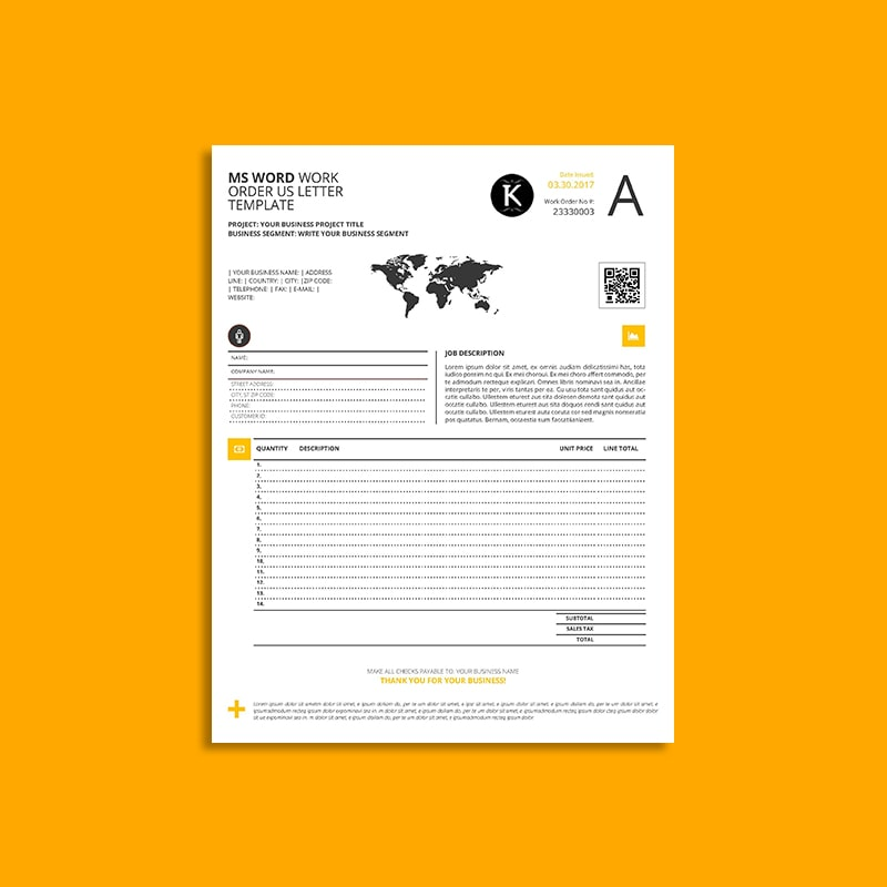 MS Word Work Order Us Letter Template