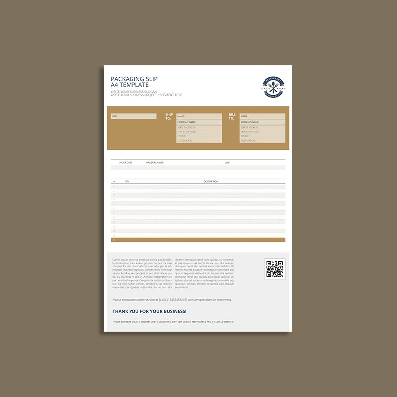 Packaging Slip A4 Template