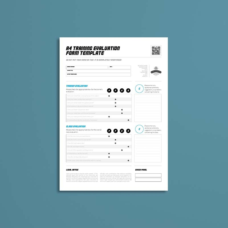 A4 Training Evaluation Form