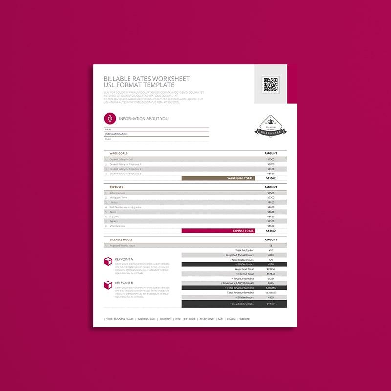 Billable Rates Worksheet USL Format Template