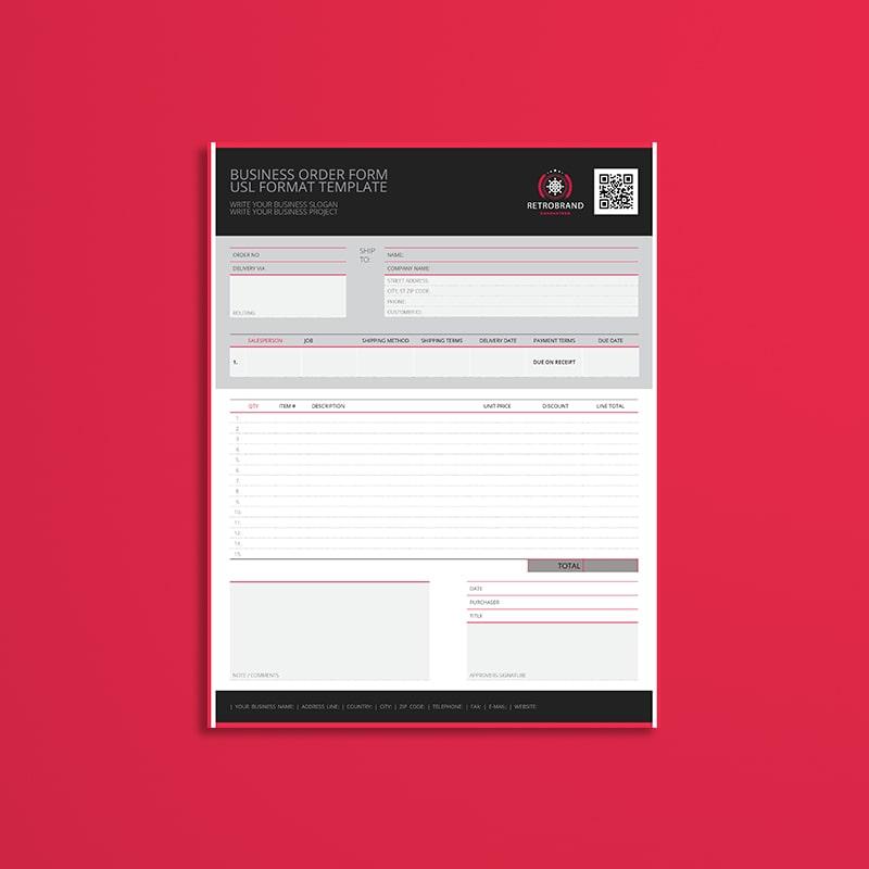 Business Order Form USL Format Template