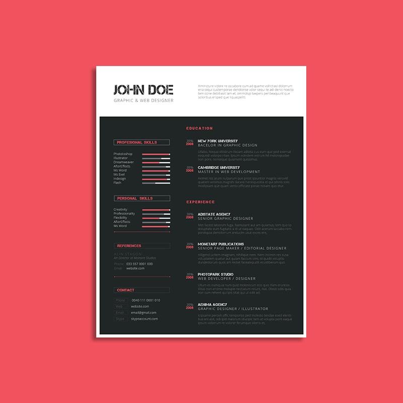 CV Resume Template US Letter