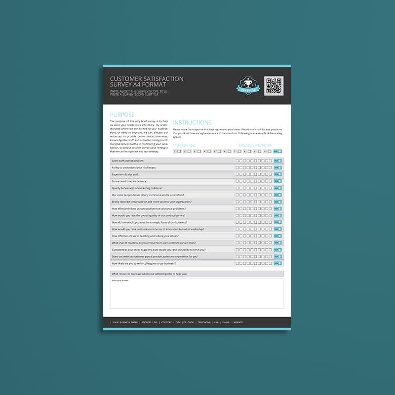 Customer Satisfaction Survey A4 Format