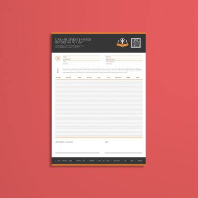 Daily Business Expense Report A4 Format