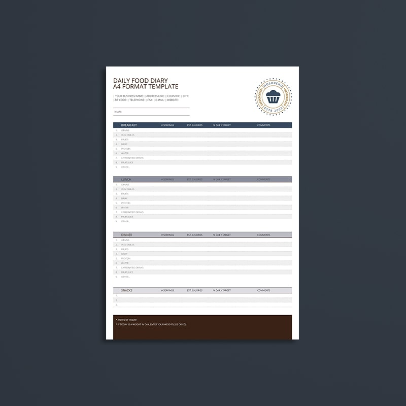 Daily Food Diary A4 Format Template