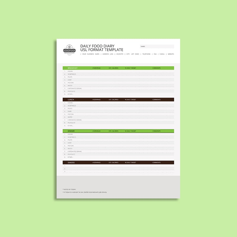 Daily Food Diary USL Format Template