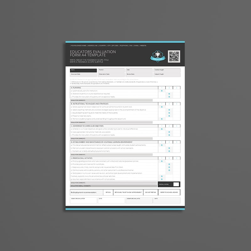 Educators Evaluation Form A4 Template