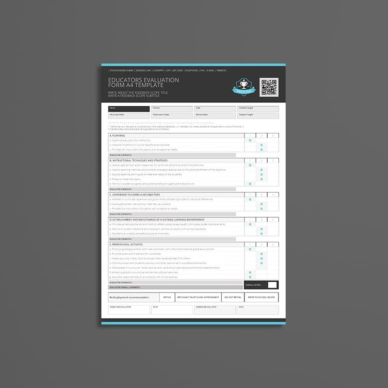 Educators Evaluation Form A4 Template