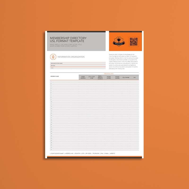 Membership Directory USL Format Template