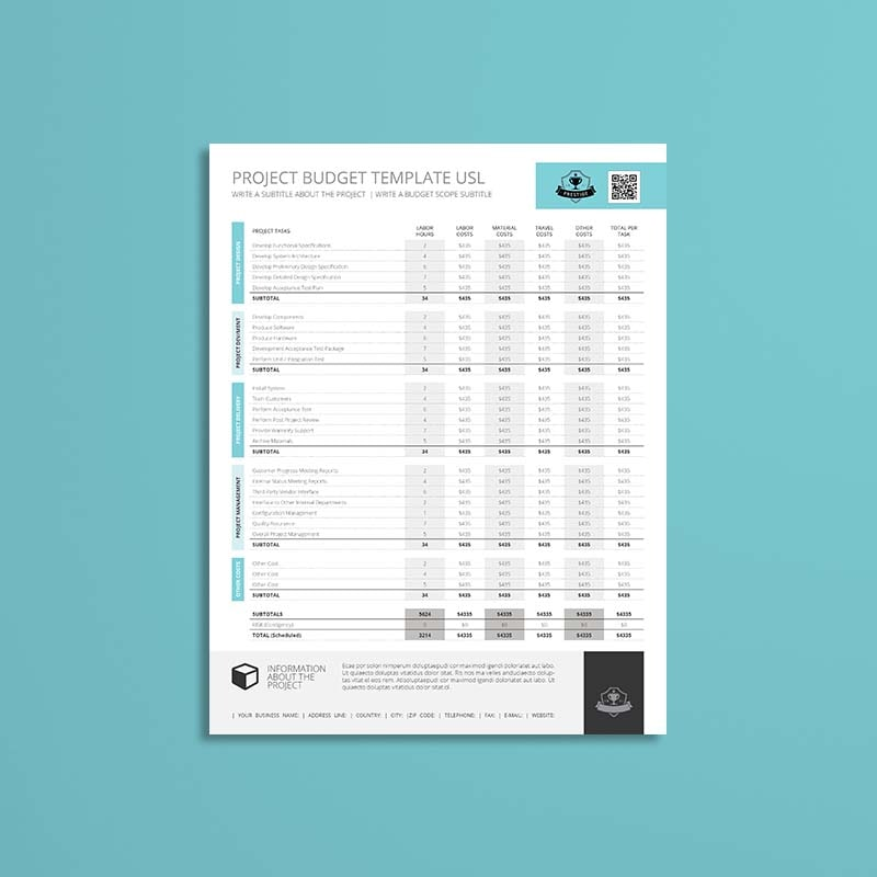 Project Budget Template USL Format