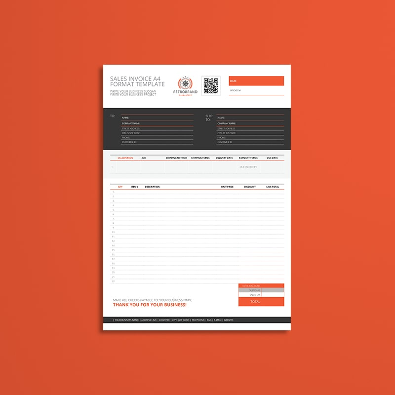 Sales Invoice A4 Format Template