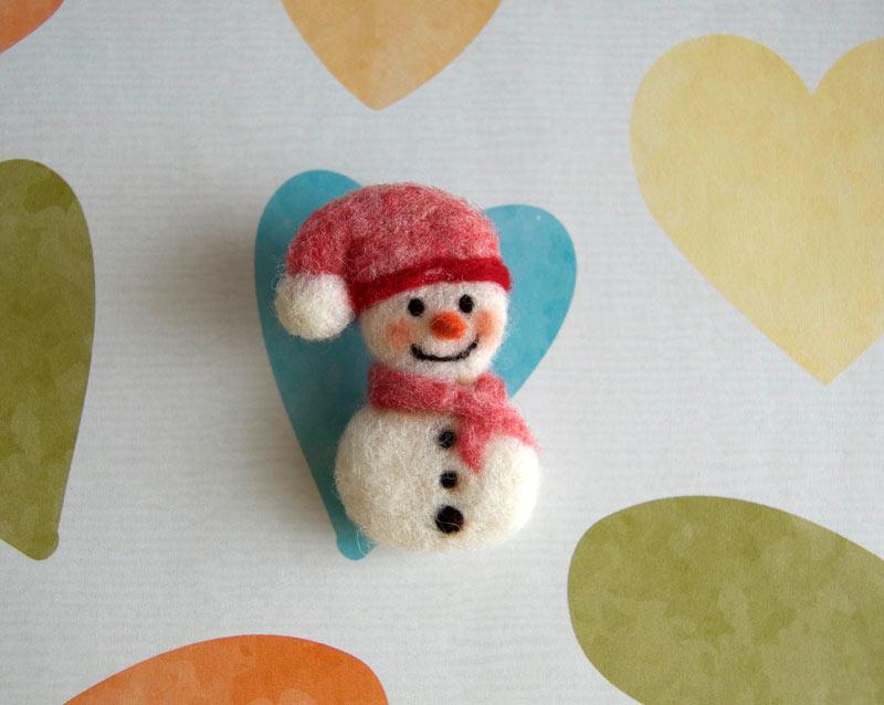 keçe iğneleme kardan adam broş
