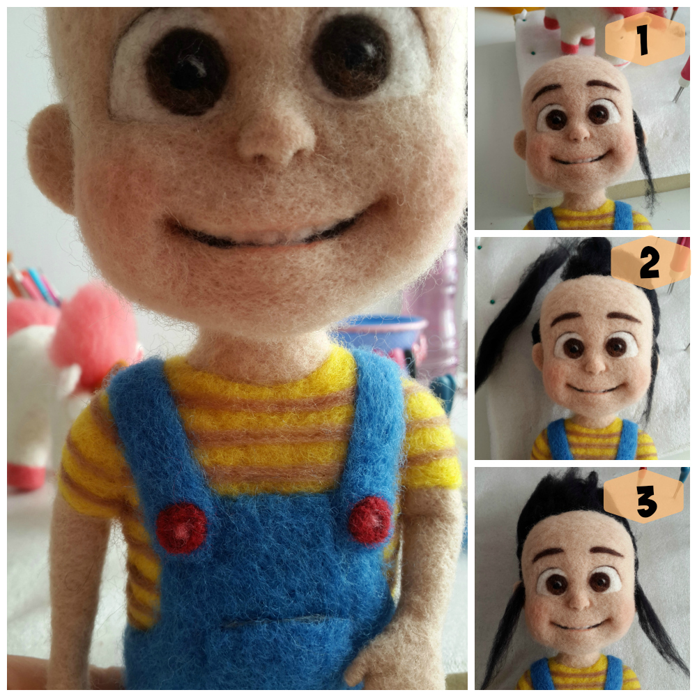 agnes despicable me minions needle felting needle felted doll toy keçe iğneleme unicorn AGNES