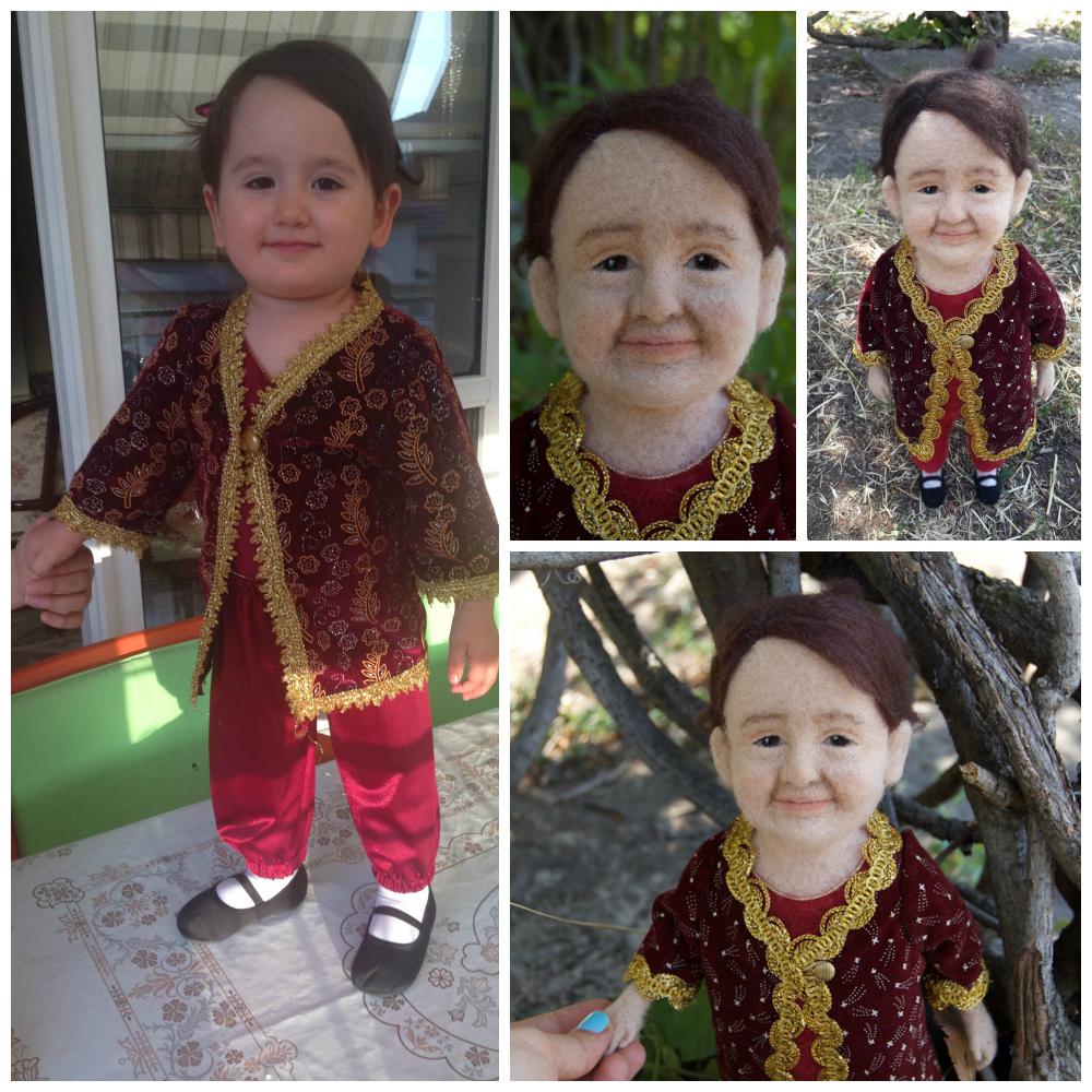 kişiye özel yün bebek keçe figür - keçe iğneleme kişiye özel figür heykel - needle felted doll custom doll - needle felting art doll