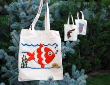 pufidik bez çantalar - keçe inadı - keçe iğneleme çanta yapımı hobi kiti balık