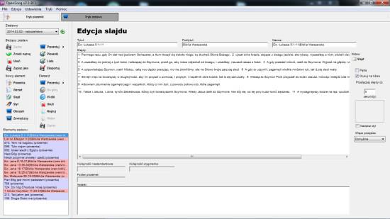 Zrzut ekranu, pokazujący widok listy zestawów w programie Opensong.