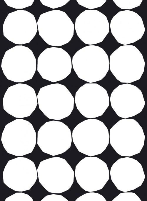 Marimekko Kivet Cotton Stof Black/White