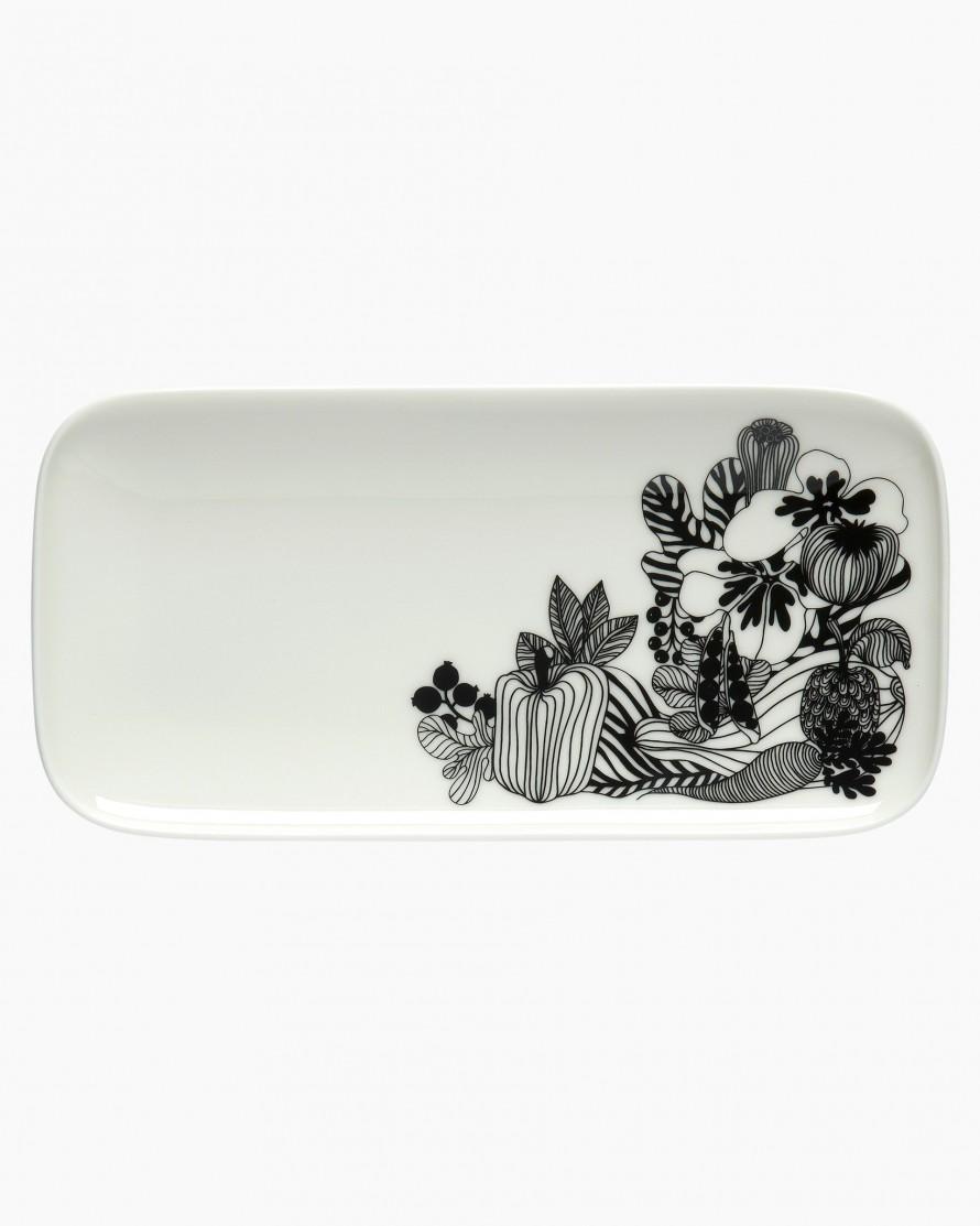 Marimekko Siirtolapuutarha plate 12x24.5 white black