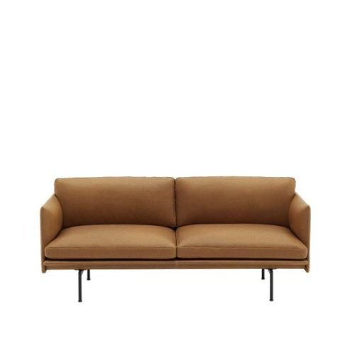 Muuto Outline Sofa 2 seater Refine Leather Cognac - Black Base