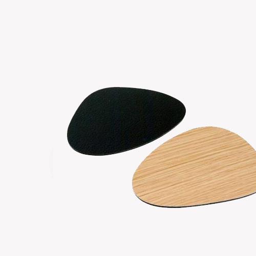 Coaster curve double Oak Wood/black
