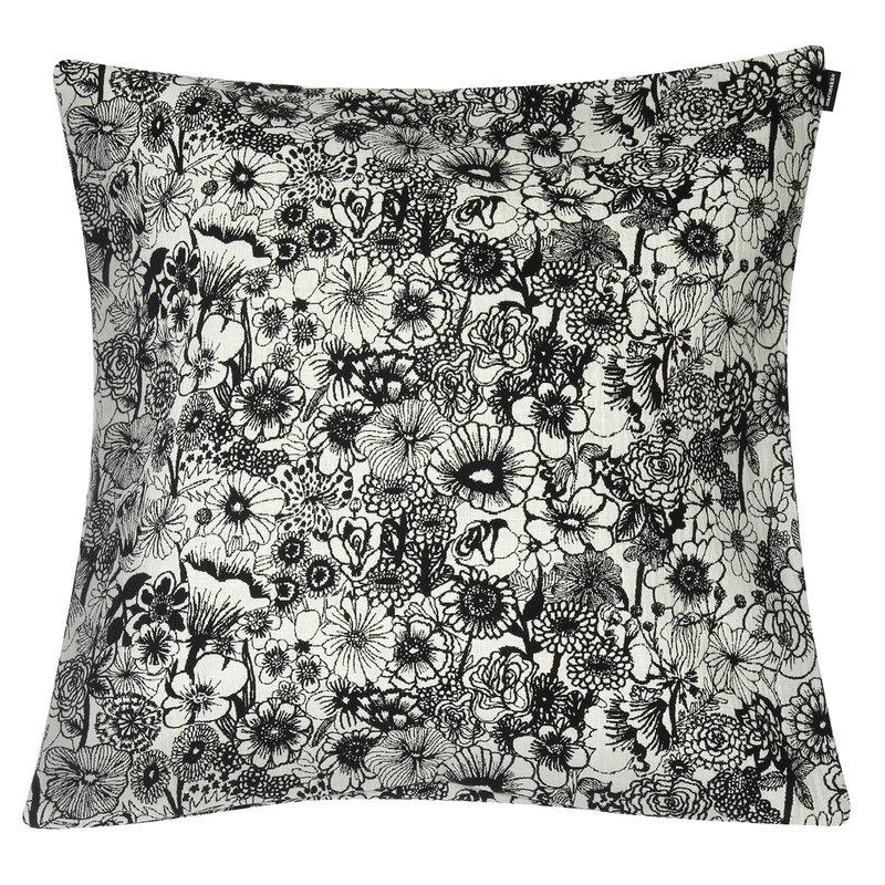Marimekko Seppelekukat cushion cover 50x50 ecru black