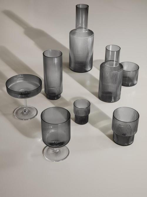Ripple long drink glass set 4 smoked grey