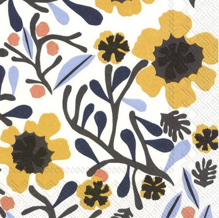 mykero white/yellow lunch napkin
